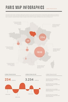 Parigi mappa infografica piatta