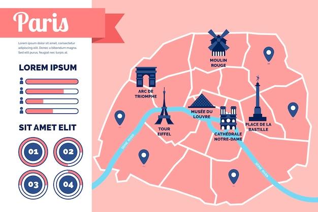 フラットなデザインのパリの地図のインフォグラフィック