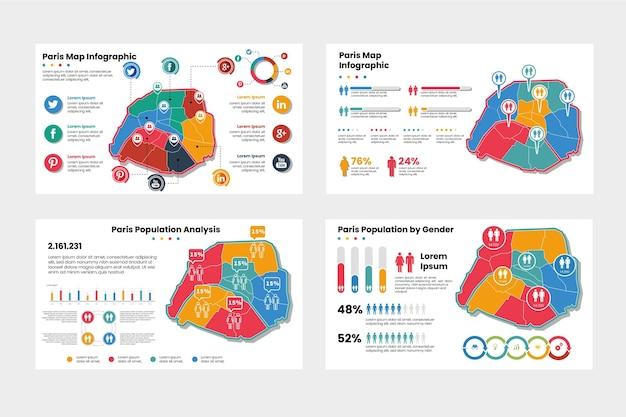 Инфографика карты парижа Premium векторы