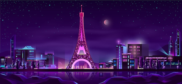 Paris night streets cartoon background