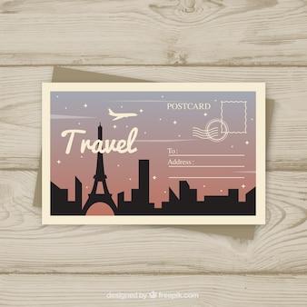 Шаблон парижской открытки с плоским дизайном