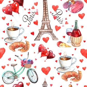 Paris seamless souvenir wrap paper pattern