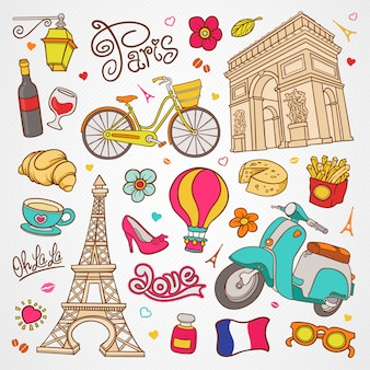 Paris sketch illustration, set of hand drawn vector doodle french elements