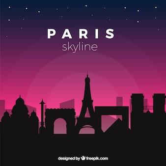 밤에 파리 스카이 라인