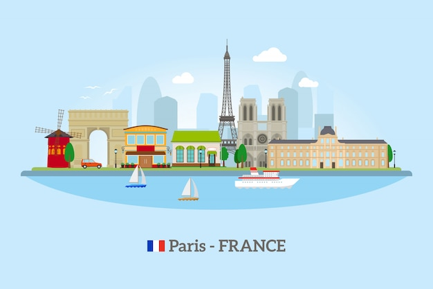 Paris skyline in flat style on blue background