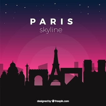 Skyline di parigi di notte