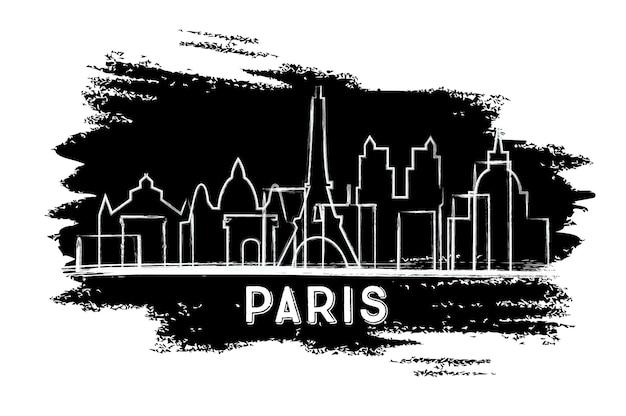 Парижский силуэт горизонта. рисованный эскиз. деловые поездки и концепция туризма с исторической архитектурой. изображение для презентационного баннера и веб-сайта. векторные иллюстрации.