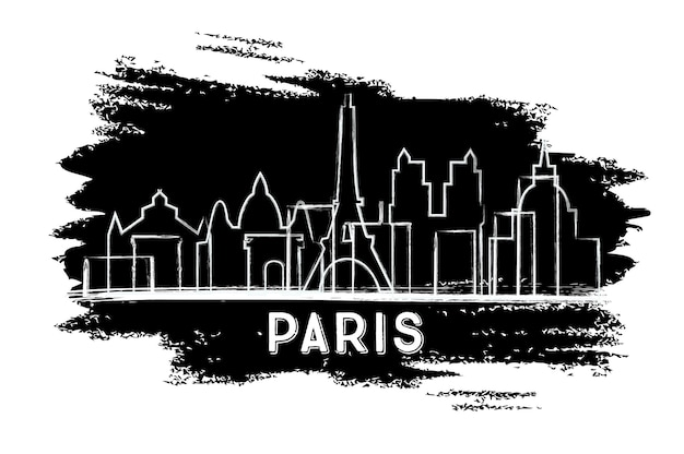 Paris skyline silhouette. hand drawn sketch. business travel and tourism concept with historic architecture. image for presentation banner placard and web site. vector illustration.