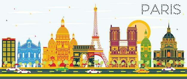 Горизонт парижа с цветными зданиями и голубым небом. векторные иллюстрации. деловые поездки и концепция туризма с исторической архитектурой. изображение для презентационного баннера и веб-сайта.