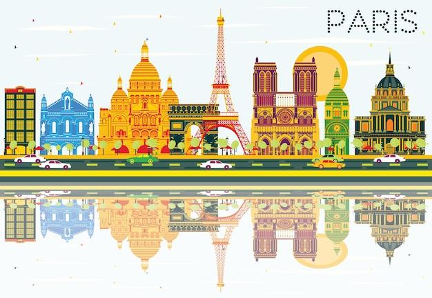 Горизонт парижа с цветными зданиями, голубым небом и размышлениями. векторные иллюстрации. деловые поездки и концепция туризма с исторической архитектурой. изображение для презентационного баннера и веб-сайта.