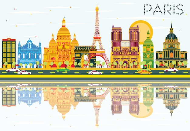 Paris skyline with color buildings, blue sky and reflections. vector illustration. business travel and tourism concept with historic architecture. image for presentation banner placard and web site.
