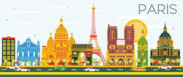 Paris skyline with color buildings and blue sky. vector illustration. business travel and tourism concept with historic architecture. image for presentation banner placard and web site.