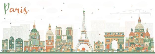 Горизонт парижа с цветными достопримечательностями. векторные иллюстрации. деловые поездки и концепция туризма с историческими зданиями. городской пейзаж парижа.