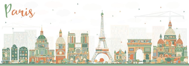 Paris skyline with color landmarks. vector illustration. business travel and tourism concept with historic buildings. paris cityscape.