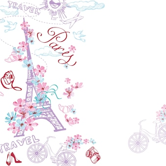 파리 기호 패턴입니다. 파리의 낭만적인 여행. 벡터 일러스트입니다.