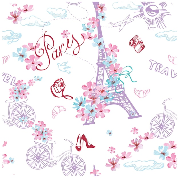 パリのシンボルのシームレスなパターン。パリのロマンチックな旅行。ベクトルイラスト。