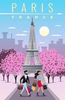 Иллюстрация путешествия парижа с плоскими символами осмотра достопримечательностей и покупок
