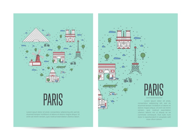 Paris travel tour poster set in linear style