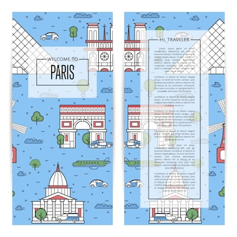 Paris traveling flyers set in linear style
