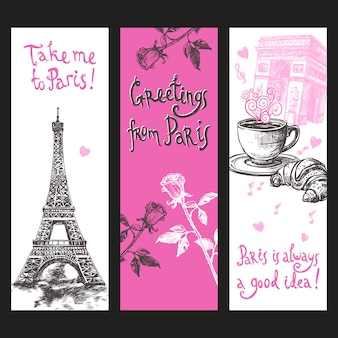 Paris vertical banner set