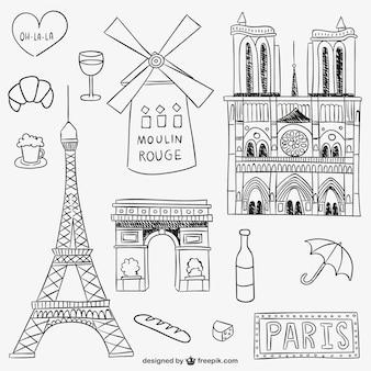 파리의 랜드 마크와 사물
