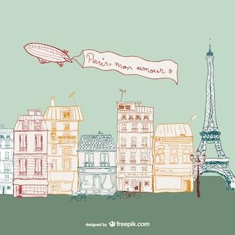 パリの通りの描画