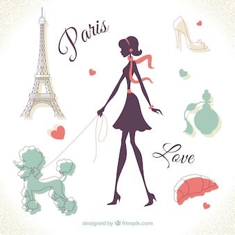 パリの女性のイラスト