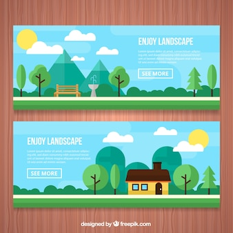 Park and house banners in a landscape in flat design