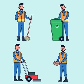Парковщик заботится об уборке, уборке, уборке, стрижке, садоводстве. иллюстрация плоский