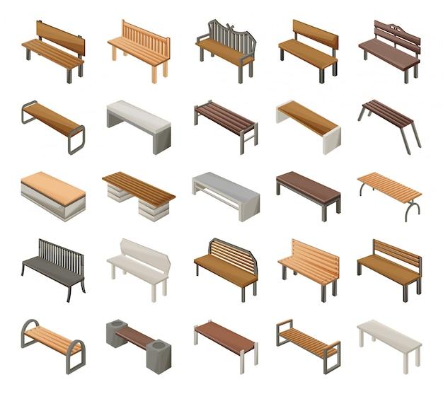 Park bench cartoon set icon.