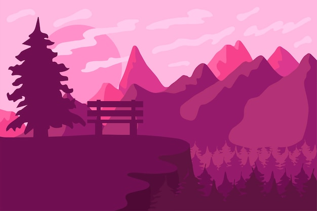 Park bench in the coniferous forest. outdoor landscape and panorama. pink sunset or sunrise.