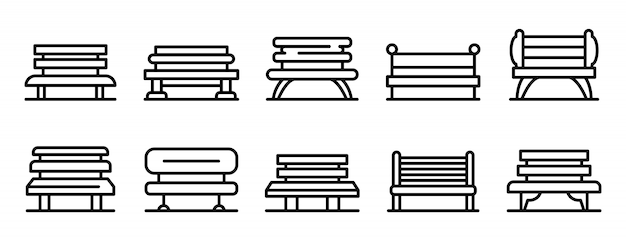 Park bench icons set, outline style