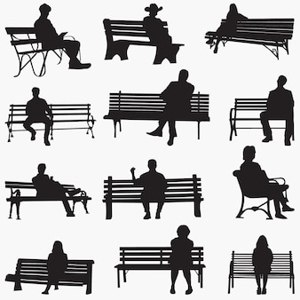 Park bench silhouettes