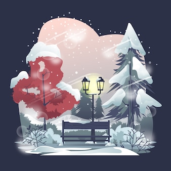 Park benches in winter illustration