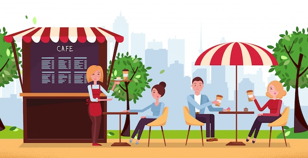 Park cafe with umbrella. people drink coffe in outdoor vector street cafe on restaurant terrace.