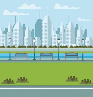 Park and cityscape urban scene