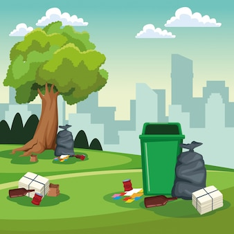 Park cleaning can and bags scenery