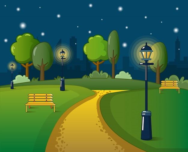 Park concept, cartoon style