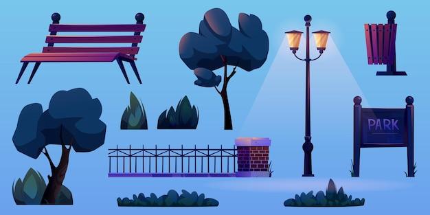 Элементы строительства парка изолированные мультфильм иконки