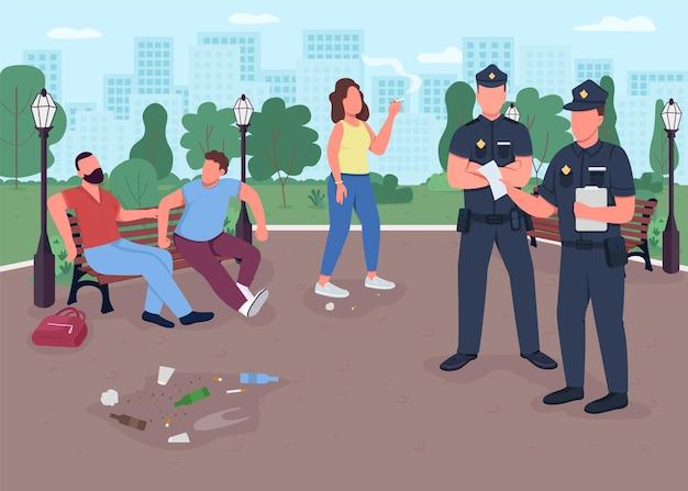 公園犯罪フラットカラーイラスト