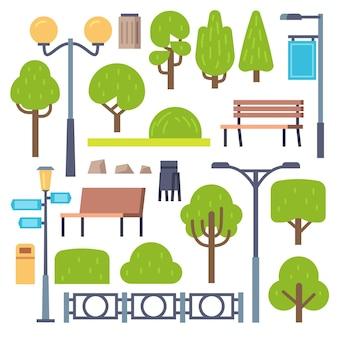 가로등 기둥과 벤치가있는 공원 요소 프리미엄 벡터