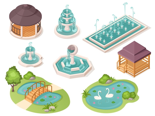Park fountains garden ponds and gazebo pavilions vector isolated isometric constructor elements