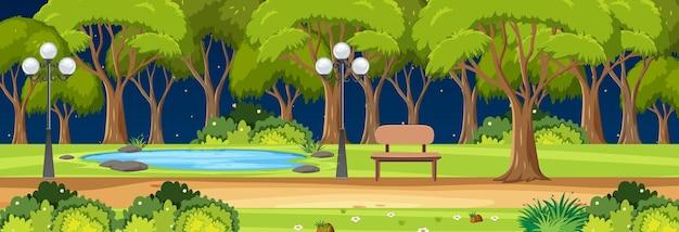 많은 나무가 있는 밤에 공원 수평 장면