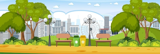 Park horizontal scene at day time with cityscape background