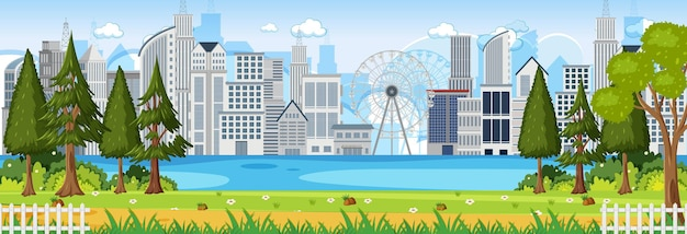 Горизонтальная сцена в парке с фоном городского пейзажа в дневное время