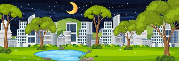 Park horizontal scene with cityscape background at night time