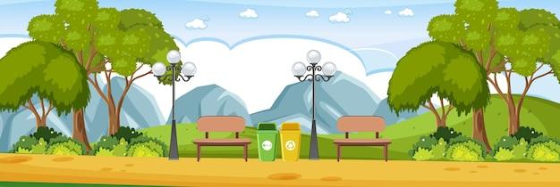 山の背景と公園の水平方向のシーン