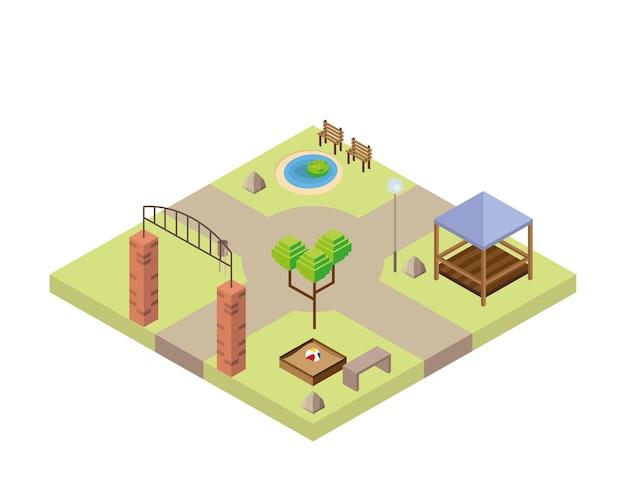 公園のキオスクと湖のシーンアイソメトリックスタイルのアイコンイラストデザイン