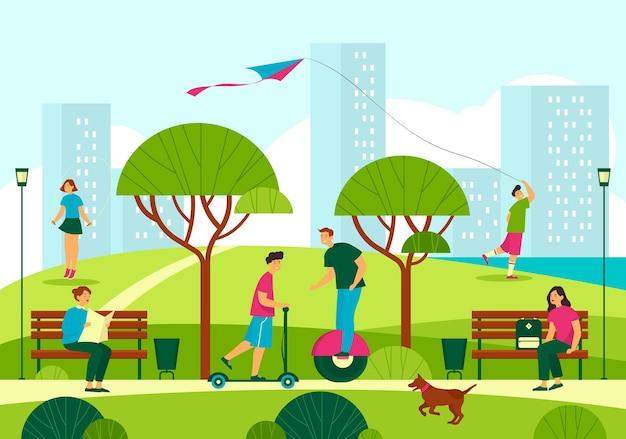 Парковый пейзаж или вид на городской пейзаж отдыхающих людей