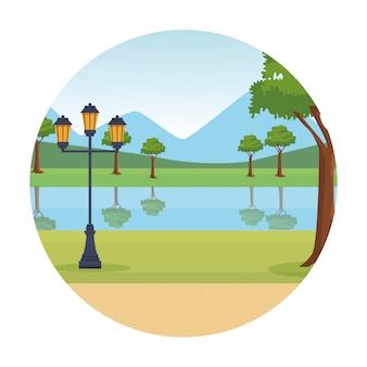 Park landscape round icon